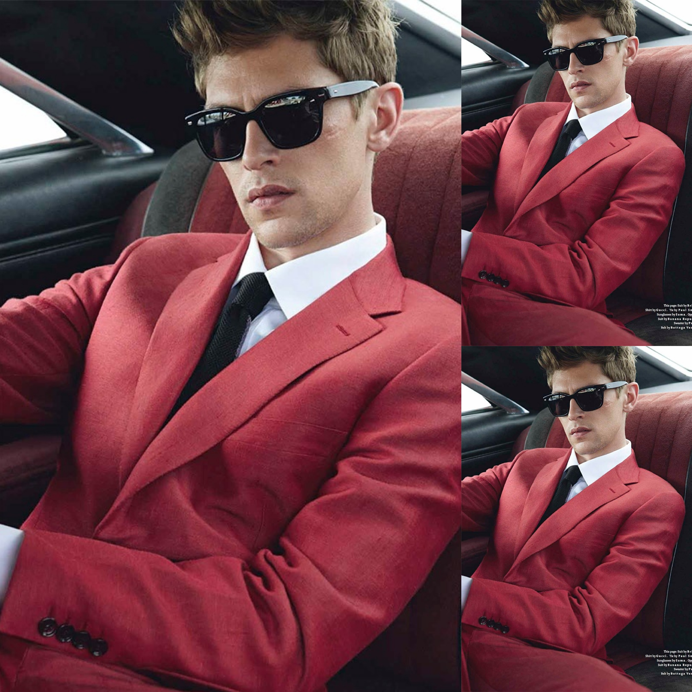 #5 (97 likes) - Mathias Lauridsen for Details Magazine. Suit by Brioni. Shirt by Gucci. Tie by Paul Smith. Sunglasses by Sama.