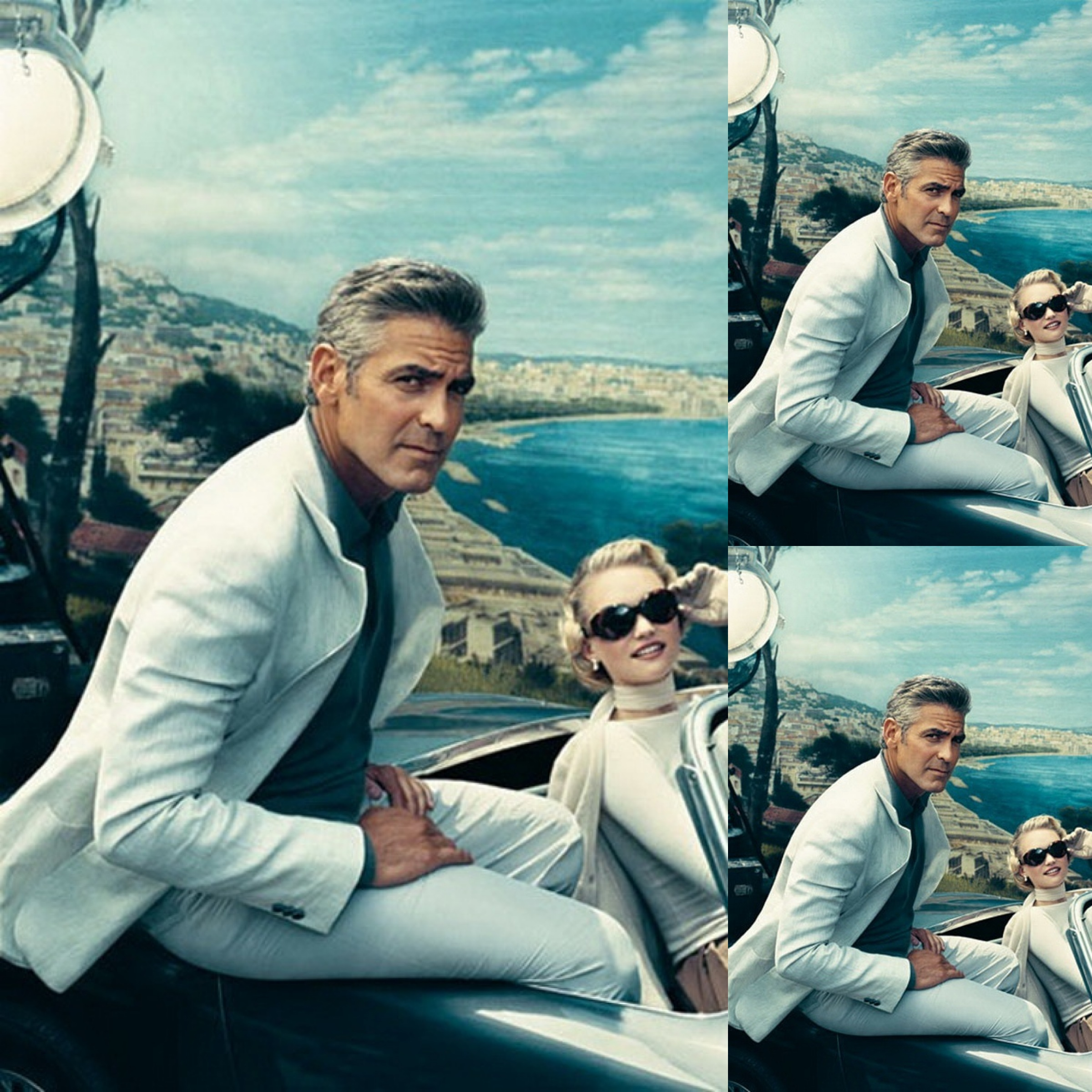 #1 (246 likes on The Man Has Style) :: George Clooney and Gemma Ward in a 1959 Austin Healey, in Outtakes || Vanity Fair :: shot by Norman Jean Roy