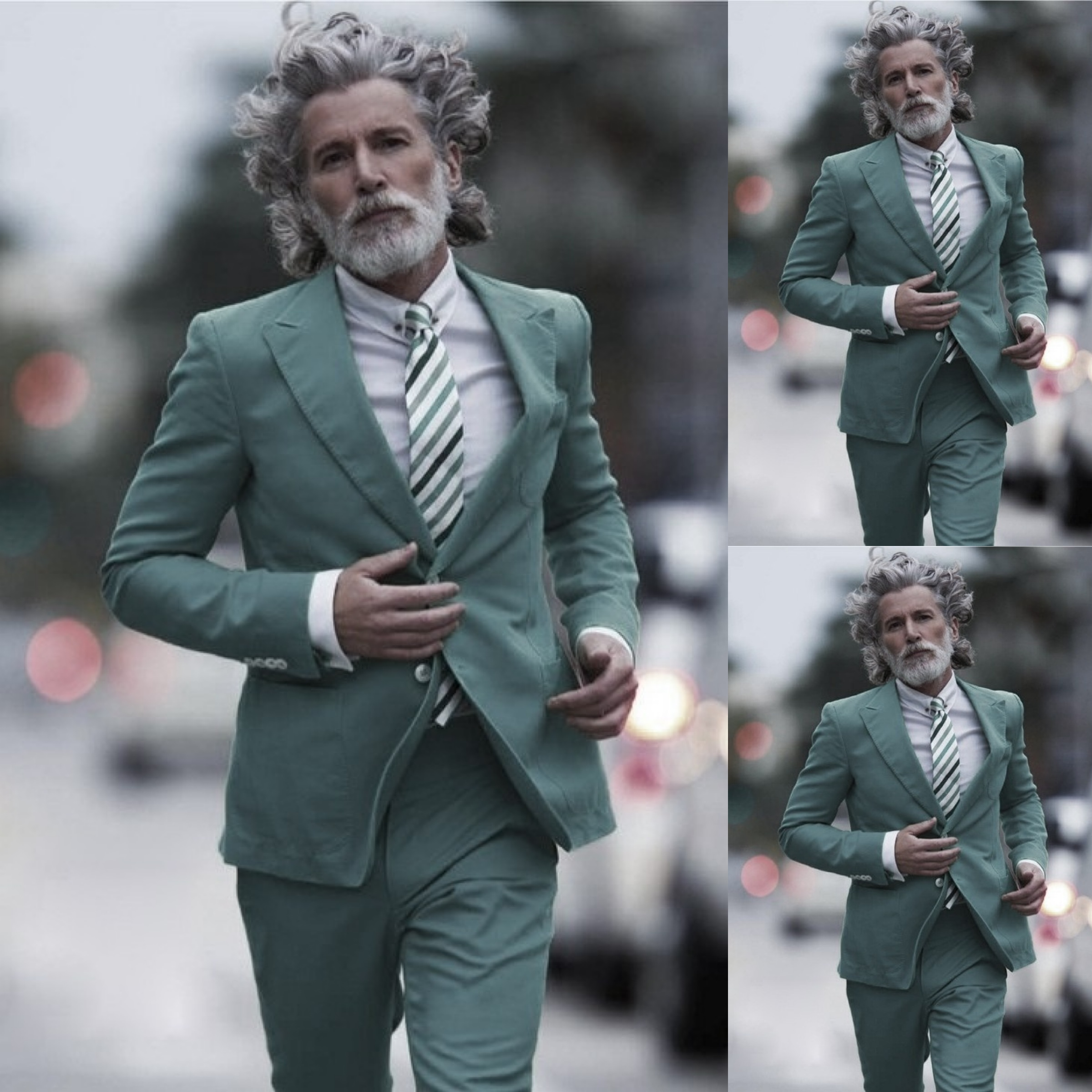 Aiden Shaw in a toned down image of the Gucci bright green suit