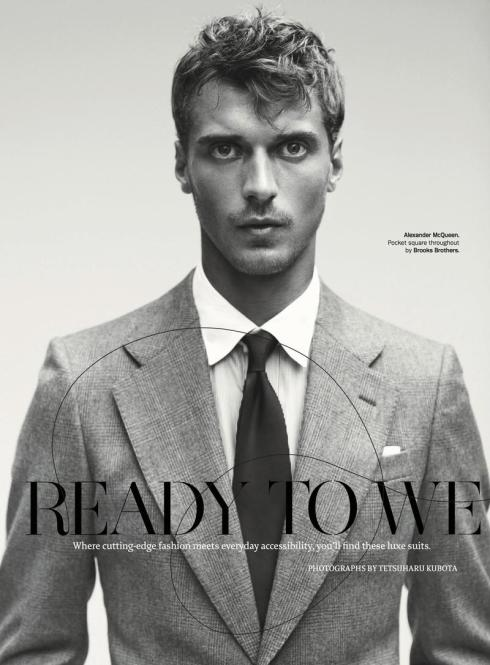 Clement Chabernaud in Alexander McQueen & Brooks Brother Pocket Square