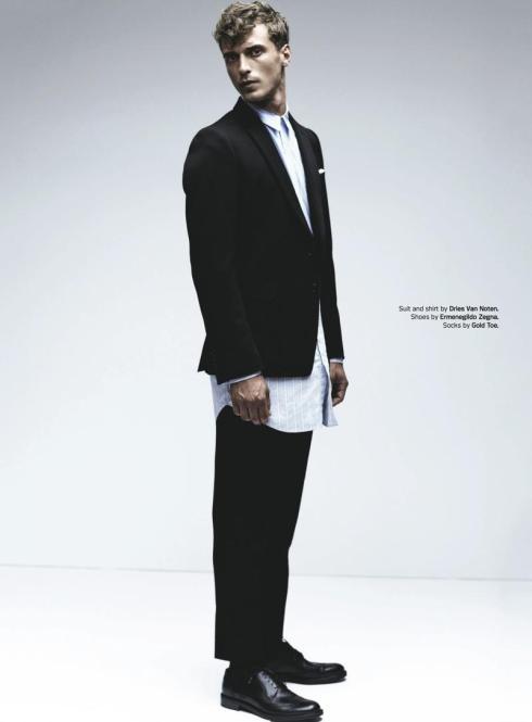 Clement Chabernaud in Dries Van Noten suit and shirt & Ermenegildo Zegna shoes