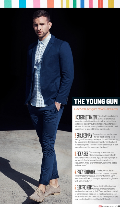 Luke Scott, Marcs Menswear Designer, talks to Men's Health magazine