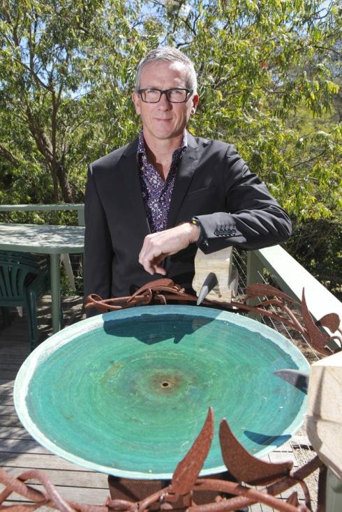 Rory with a Folko Kooper bird bath sculpture