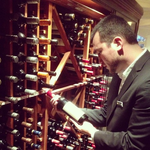 David checking out the wines in the cellar at the Intercontinental Sanctuary Cove Resort on the Gold Coast