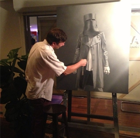 Shannon Doyle painting live at Avvia at the Appetite for Art pop up interactive exhibition recently with his work in progress,  'Outlaw II'