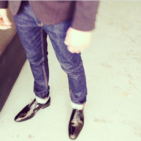 Alex Tsirsopoulos from Fat Tony & Co. in Res Denim Bulitt Rinse Rail jean with Hugo Boss mirror lace ups