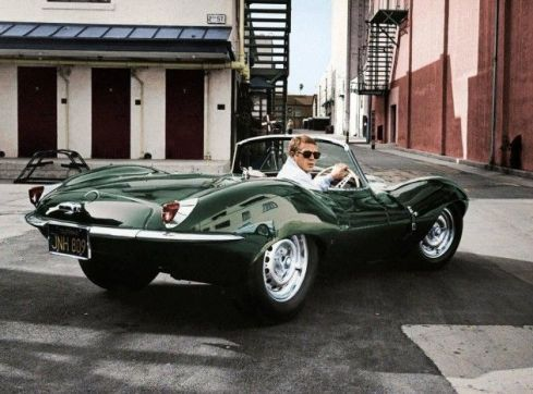 Steve McQueen in the Jaquar XKSS known as the  'Green Rat'